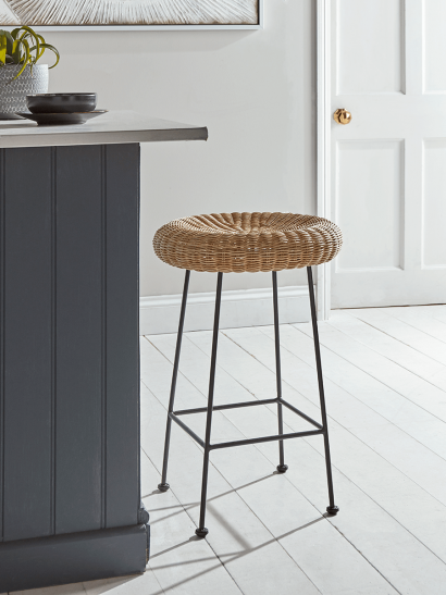 Wicker Topped Counter Stool