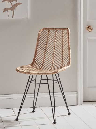 NEW Chevron Flat Rattan Dining Chair