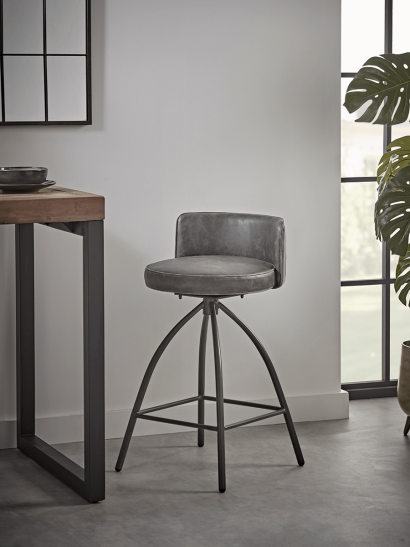 Cass Twist Counter Stool - Grey