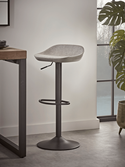 Faux Leather Counter Stool - Grey
