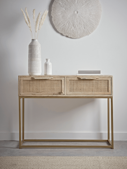 NEW Flat Rattan Webbing Console Table
