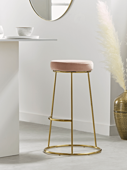 Brass & Blush Velvet High Stool