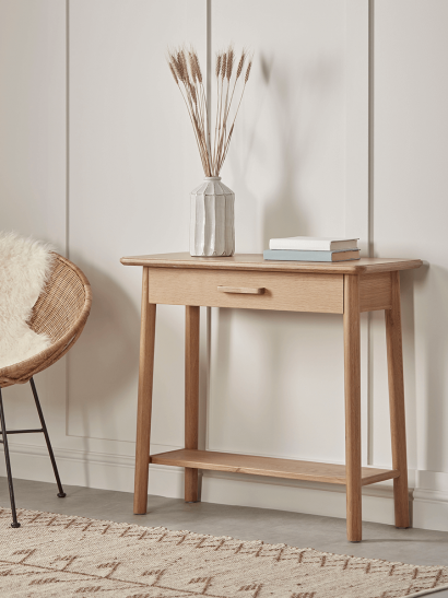 NEW Oslo Oak Storage Console Table