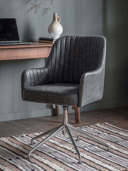 Fluted Leather Swivel Chair - Black