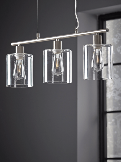 NEW Triple Industrial Pendant - Brushed Silver