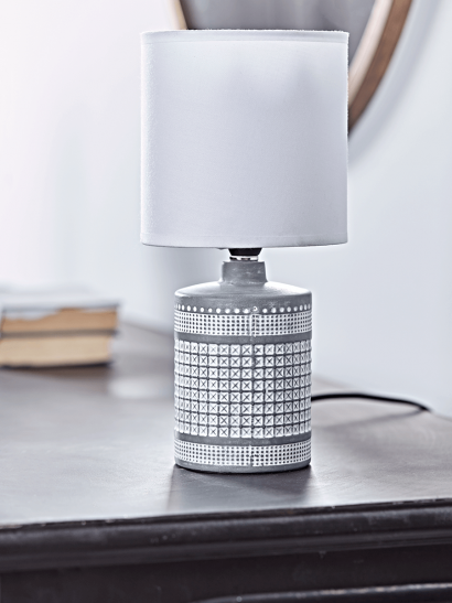 NEW Textured Grid Table Lamp - White