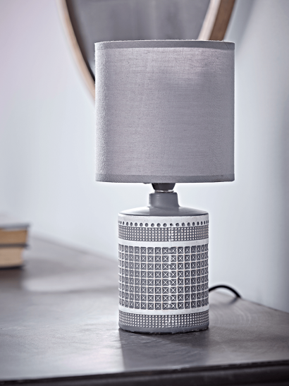 NEW Textured Grid Table Lamp - Smoke Grey