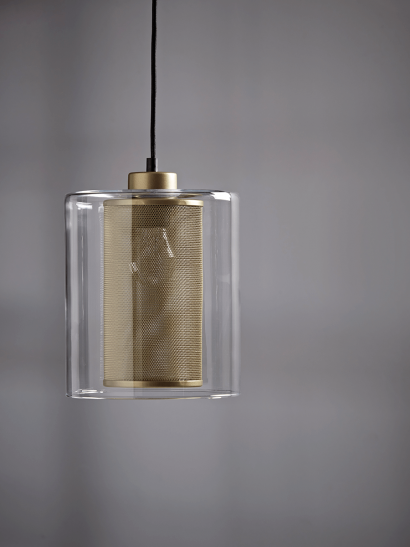 NEW Glass & Brass Mesh Pendant