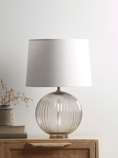 NEW Round Fluted Glass Table Lamp