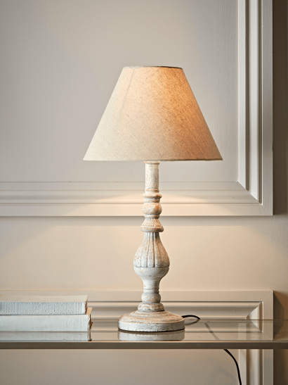 NEW Turned Whitewashed Bedside Lamp