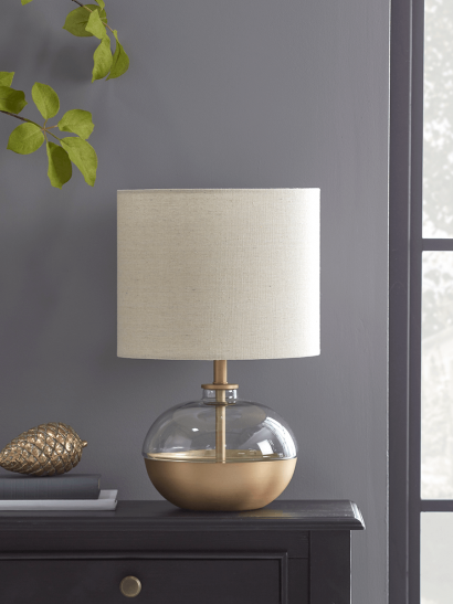 NEW Brushed Gold and Glass Table  Lamp