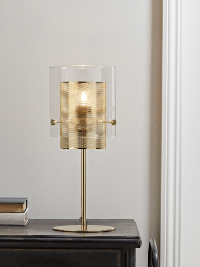 NEW Mesh & Glass Stem Table Lamp