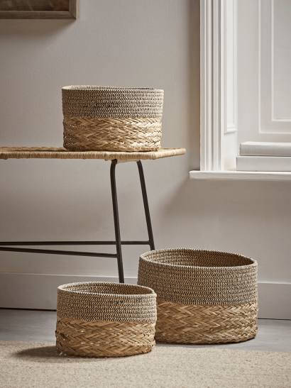 Three Chevron Topped Storage Baskets