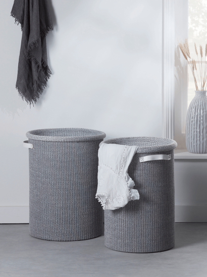 NEW Two Grey Fabric Laundry Bags