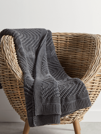 Cotton Cable Knit Throw - Charcoal