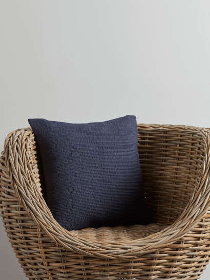 NEW Cotton Quilted Cushion - Indigo