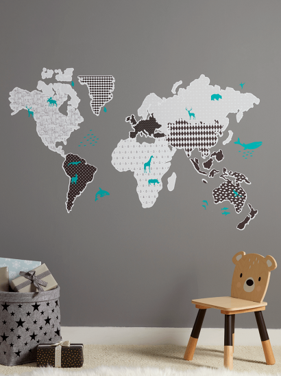 NEW Monochrome Map Wall Stickers