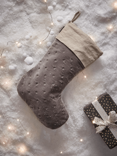 NEW Star Embroidered Stocking - Grey