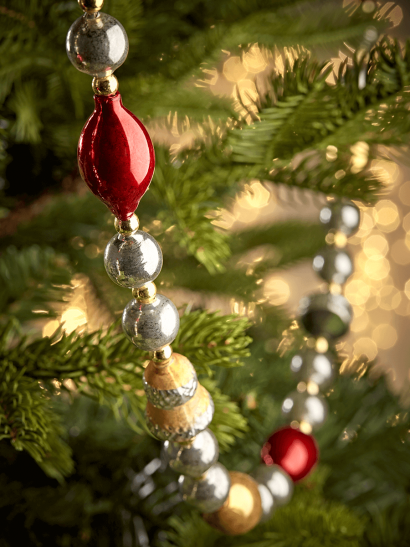 Vintage Style Bauble Garland - Red Mix