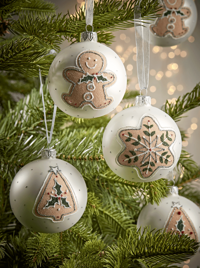Six Gingerbread Glass Baubles