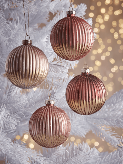 NEW Four Gold Ombre Glittered Glass Baubles - Blush