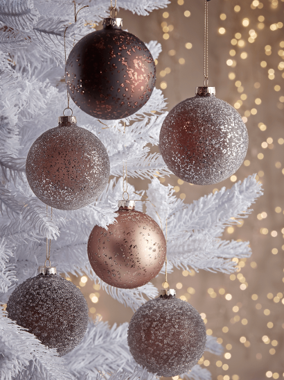 NEW Six Frosted Glass Baubles - Blush Mix