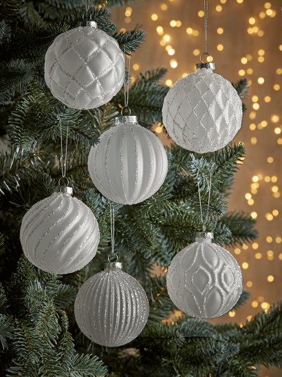 NEW Six Frosted Textured Glass Baubles