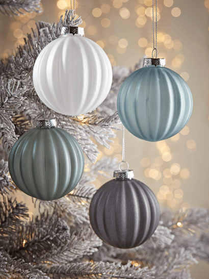 NEW Four Matte Ribbed Glass Baubles - Blue Mix