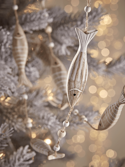 NEW Two Whitewashed Wooden Fish Garlands