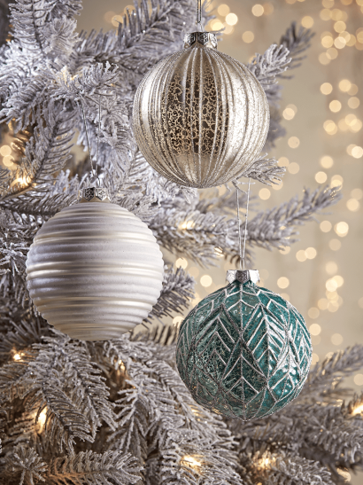 NEW Twelve Large Textured Glass Baubles - Blue & White