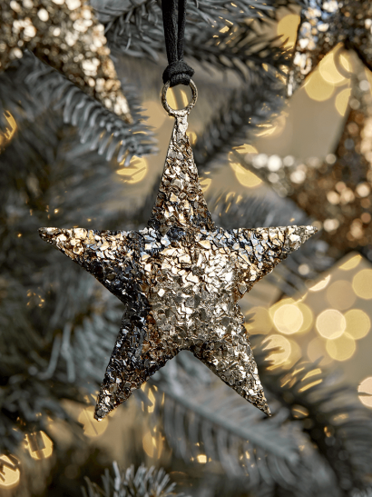 NEW Four Burnished Hanging Metal Stars