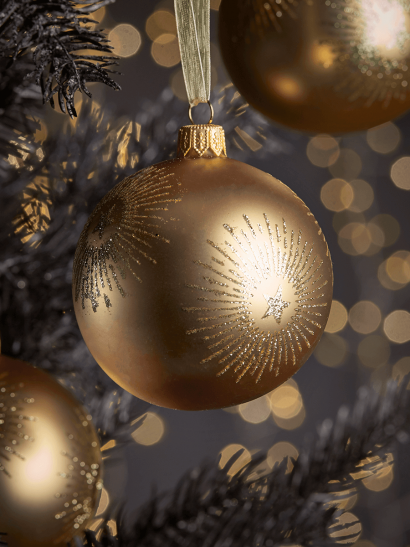 NEW Six Starburst Glass Baubles - Gold