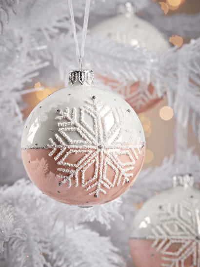 NEW Six Dipped Snowflake Glass Baubles - Blush