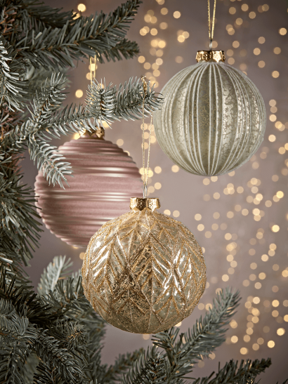 NEW Twelve Large Textured Glass Baubles - Blush & Gold