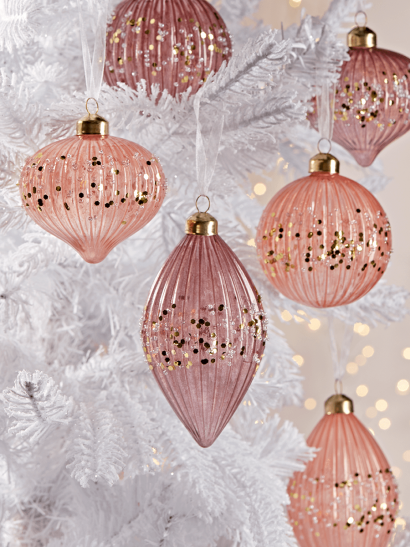 NEW Twelve Frosted Ribbed Baubles - Blush