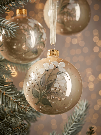 NEW Six Floral Pearl Glass Baubles