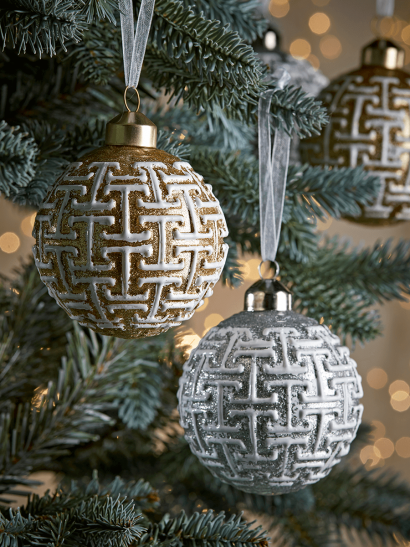 NEW Six Gold & Silver Textured Geometric Baubles