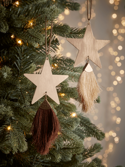 NEW Two Hanging Tasselled Stars