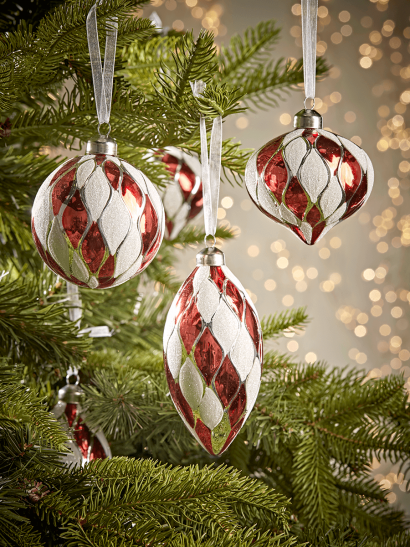 NEW Twelve Red & White Textured Glass Baubles