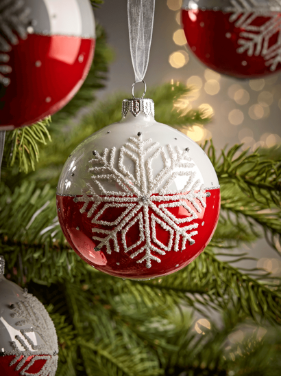 NEW Six Dipped Snowflake Glass Baubles - Red