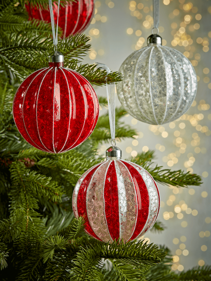 NEW Four Large Mercuried Glass Baubles - Red Stripe