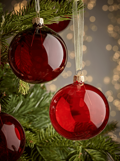 NEW Six Clear Glass Baubles - Red Mix
