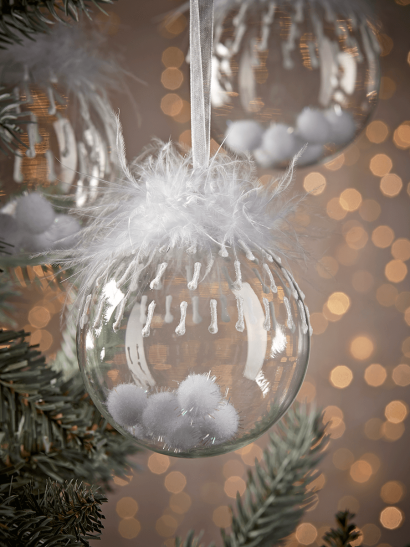 NEW Six Snowball Filled Glass Baubles