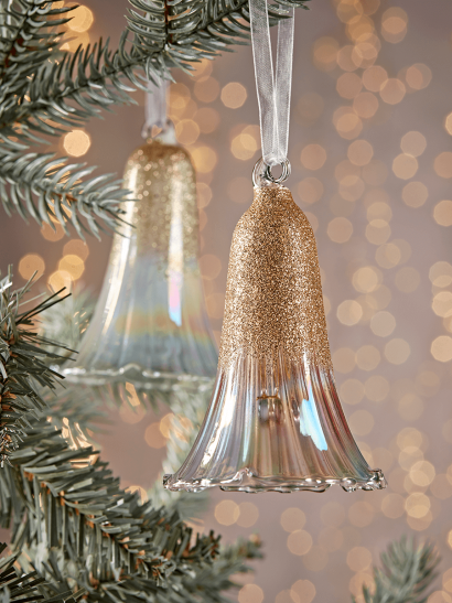 NEW Four Delicate Glittered Glass Bells
