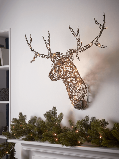 NEW Faux Rattan Light Up Stag Head