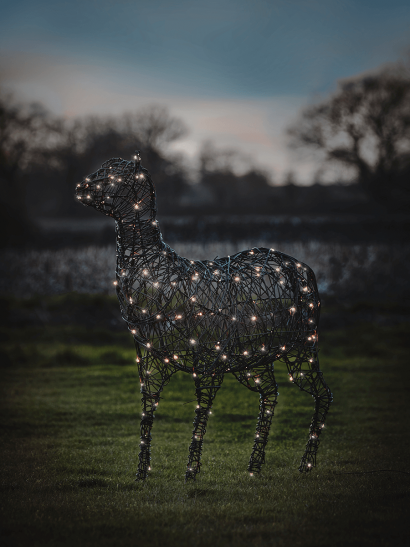 NEW Faux Rattan Light Up Sheep