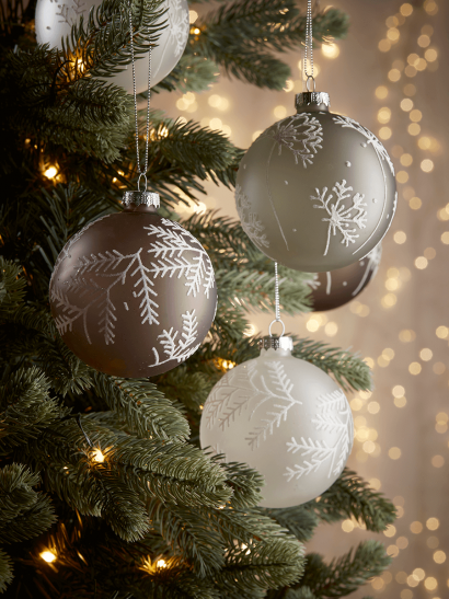 NEW Six Frosted Sprigs Baubles
