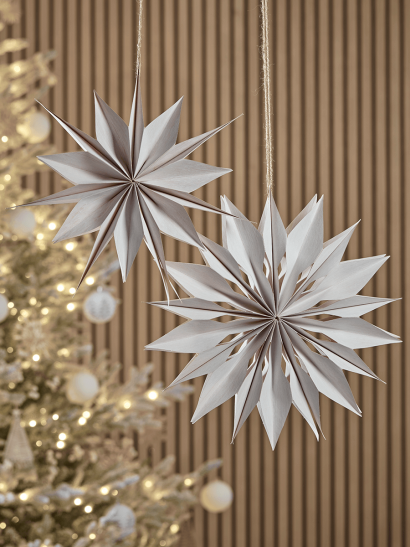 NEW Two Hanging Paper Stars - White