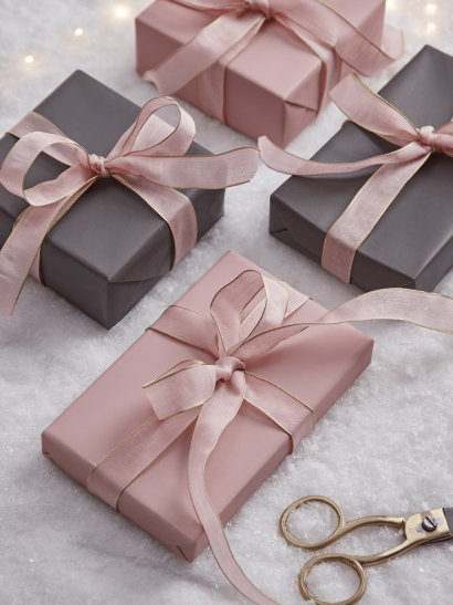NEW Grey & Blush Reversible Wrapping Paper