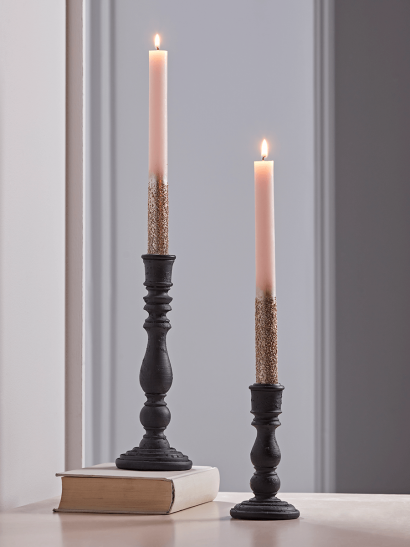 NEW Two Blush Glittered Dinner Candles